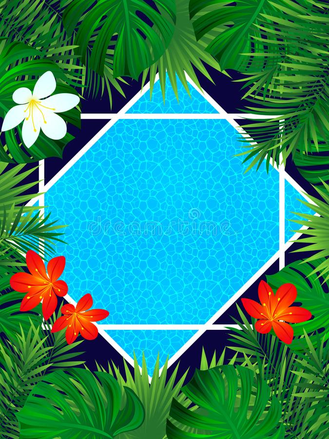 Tropical poster. vector illustration. vertical frame with tropic plants, flowers and swimming pool. fresh idea for spring, summer. Pool party designs. Bright stock images