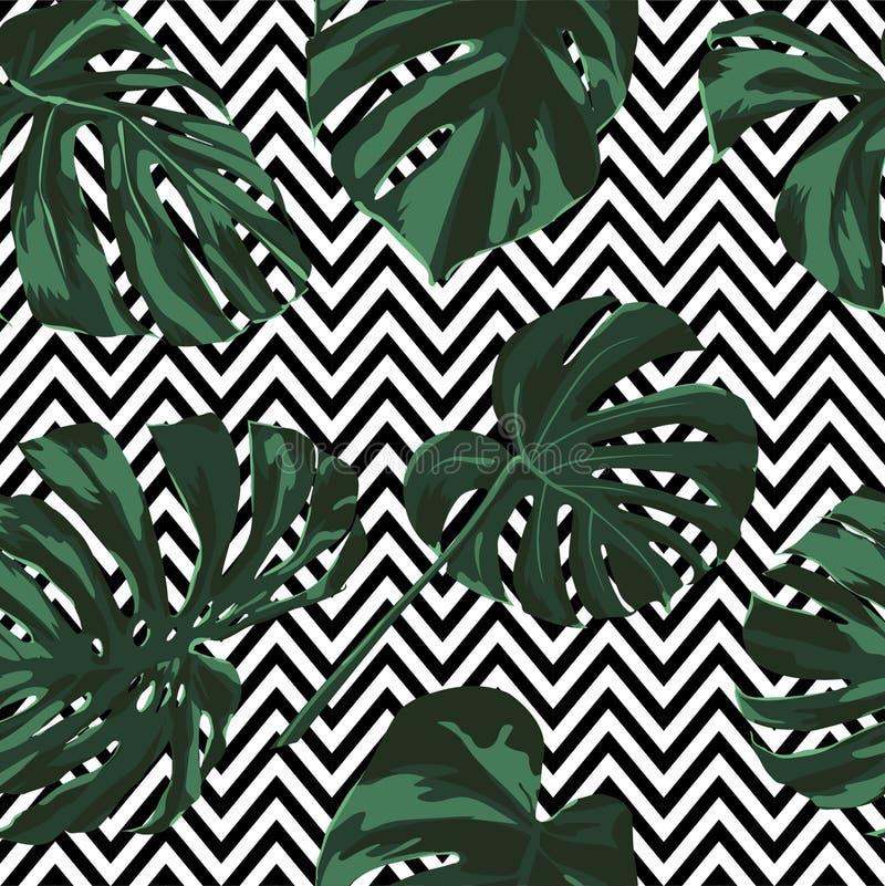 Tropical Print. Jungle Seamless Pattern. Vector Tropic Summer Motif with Hawaiian Flowers. royalty free illustration