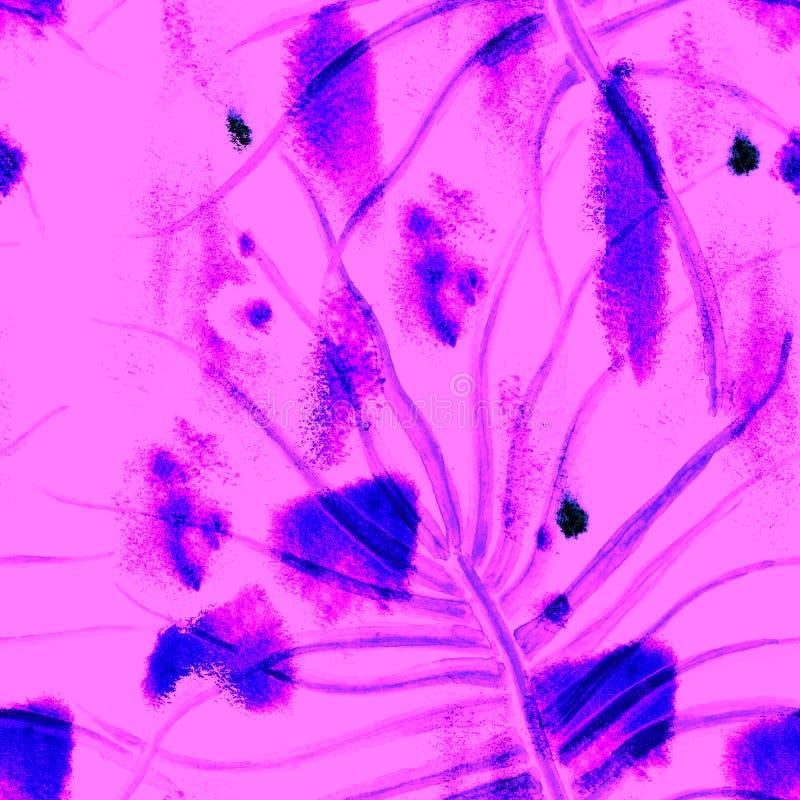 Tropical Purple Seamless Pattern. Summer Jungle royalty free stock photo