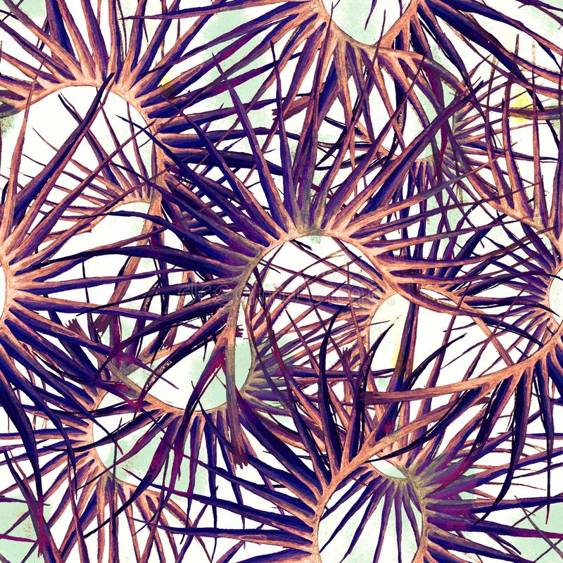 Tropical Purple Seamless Pattern. Summer Jungle royalty free illustration