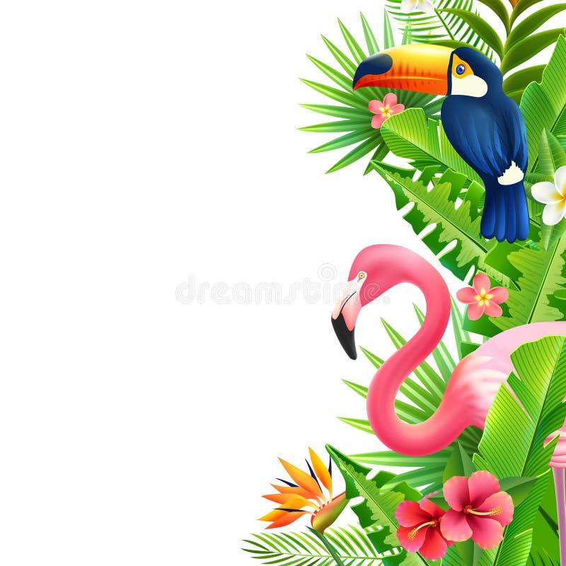 Tropical Rainforest Flamingo Vertical Colorful Border vector illustration