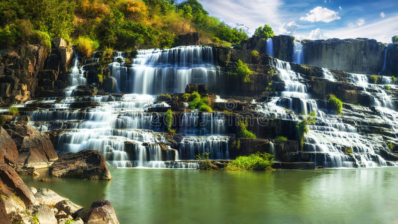 Tropical rainforest landscape with Pongour waterfall. Da Lat, Vietnam. Tropical rainforest landscape with flowing Pongour waterfall. Da Lat, Vietnam royalty free stock photo