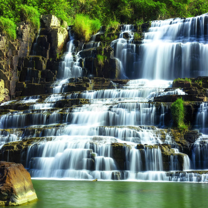 Tropical rainforest landscape with Pongour waterfall. Da Lat, Vietnam. Tropical rainforest landscape with flowing Pongour waterfall. Da Lat, Vietnam royalty free stock photography