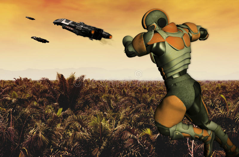 Download Tropical Ranger stock illustration. Image of future, attack - 32473715