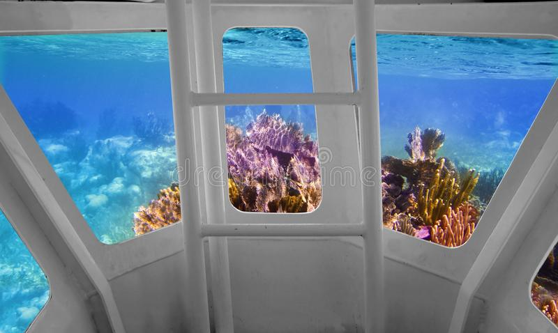 Tropical reef view from underwater submarine. Bow view royalty free stock photography