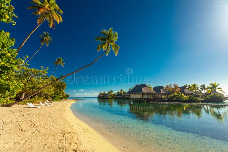 Tropical resort with amazing lagoon on Moorea, French Polynesia royalty free stock image