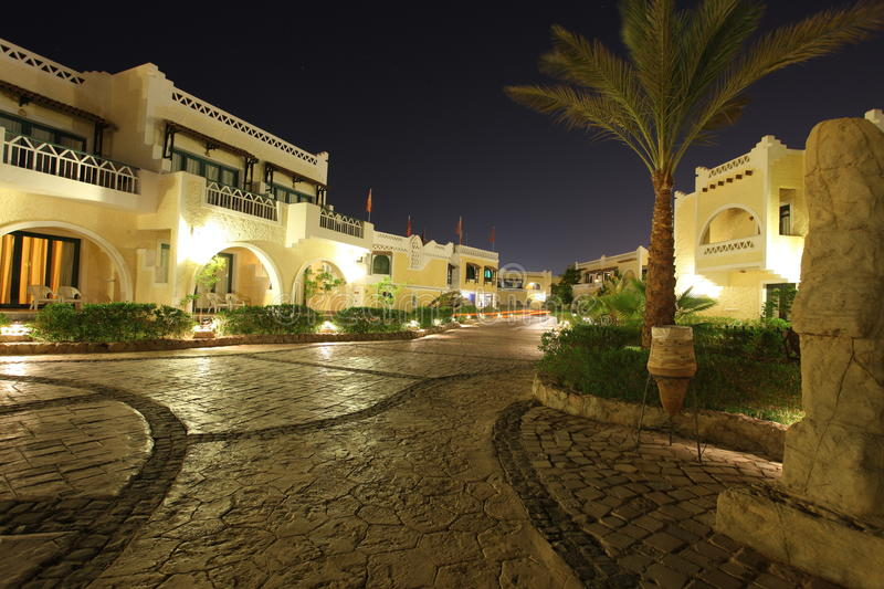 Tropical resort in Egypt. Night view of a holiday resort stock images