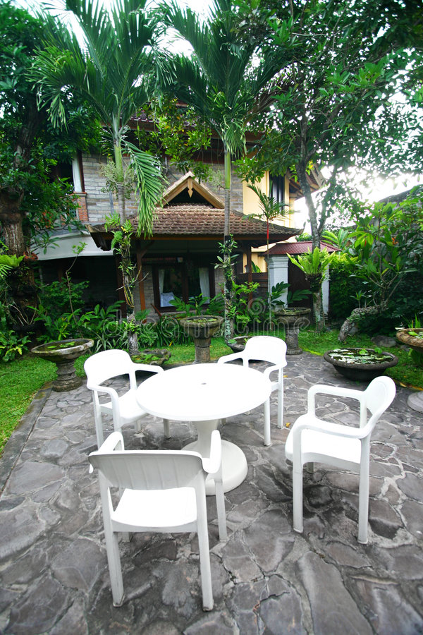 Tropical Resort Garden With Furniture Stock Images