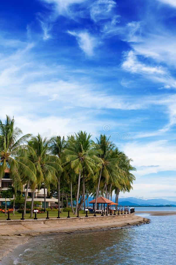 Tropical resort holiday by the beach royalty free stock photos