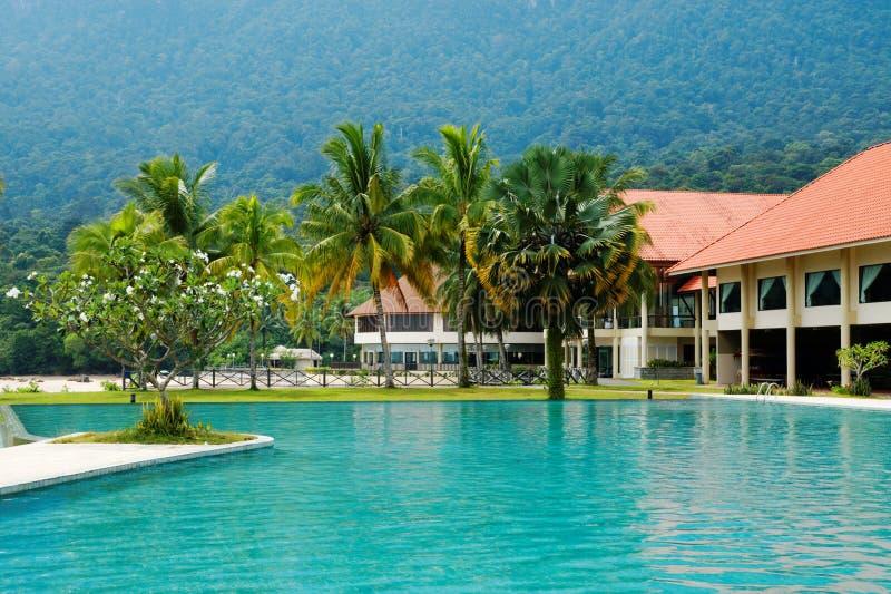 Tropical Resort in Malaysia (Damai, Borneo). Tropical resort at Damai beach on Santubong Peninsula (Borneo, Malaysia royalty free stock photos