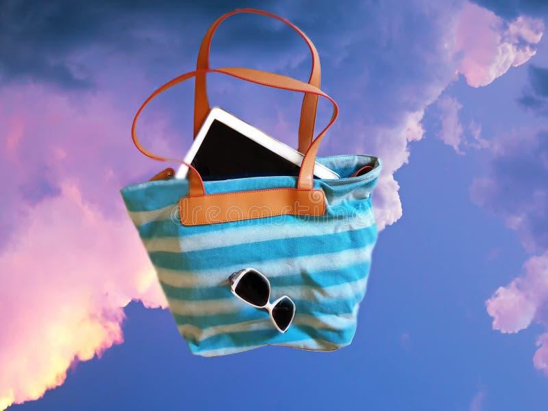 Tropical resort ,Sky ,Beach Accessories illustration Tablet, handbag ,Smartphone, Sunglass resort. Caribbean tropical Resort Relax Travel Beach Accessories royalty free illustration