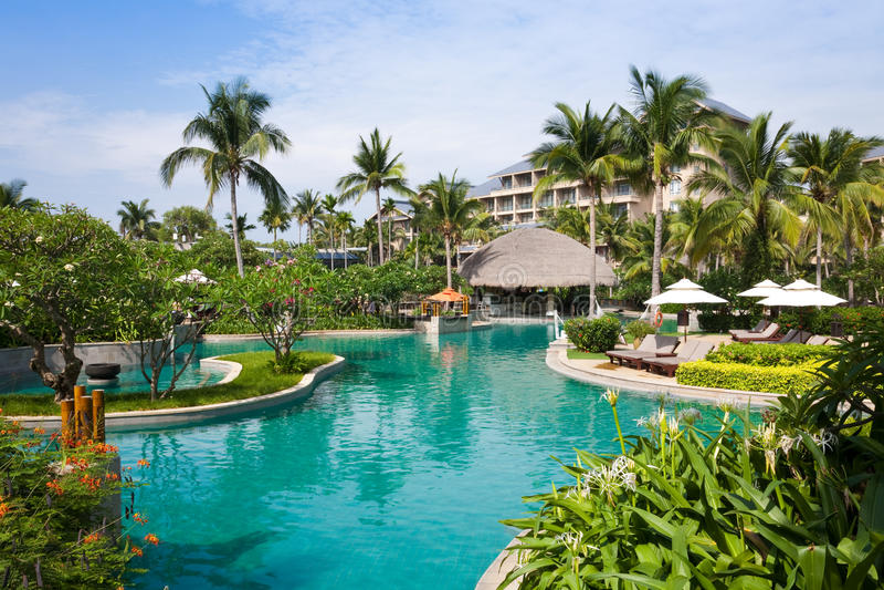 Tropical Resort Swimming Pool Stock Photo