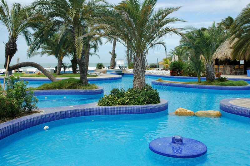 Tropical Resort With Swimming Pool Royalty Free Stock Photos