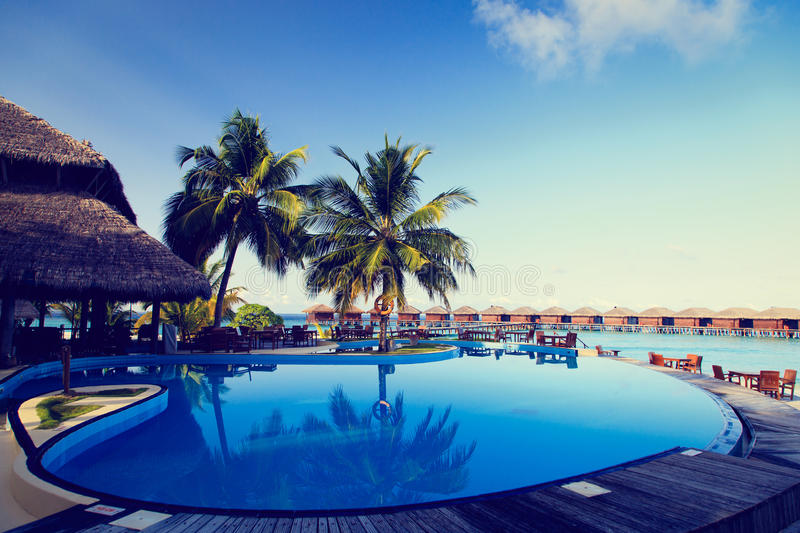 Tropical resort swimming pool and cafe bar. Near the beach stock photo
