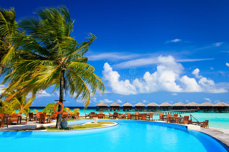 Tropical resort swimming pool and cafe bar near the beach. Vacation concept stock photo