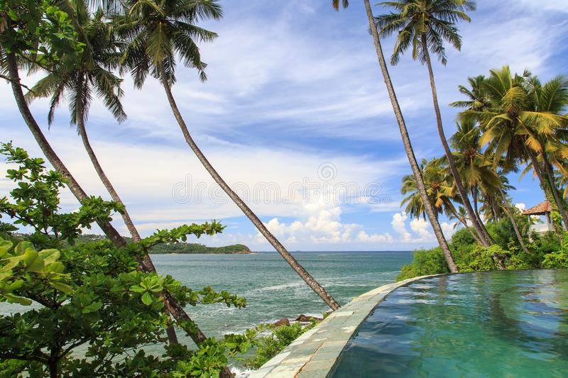 An endless tropical rim flow pool over looking the beaches of Galle - Sri Lanka. Tropical rim flow pool over looking the beaches of Galle - Sri Lanka. The pool stock images