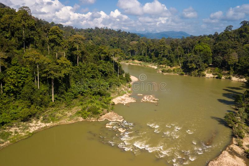 Tropical river and rainforest aerial view stock photo