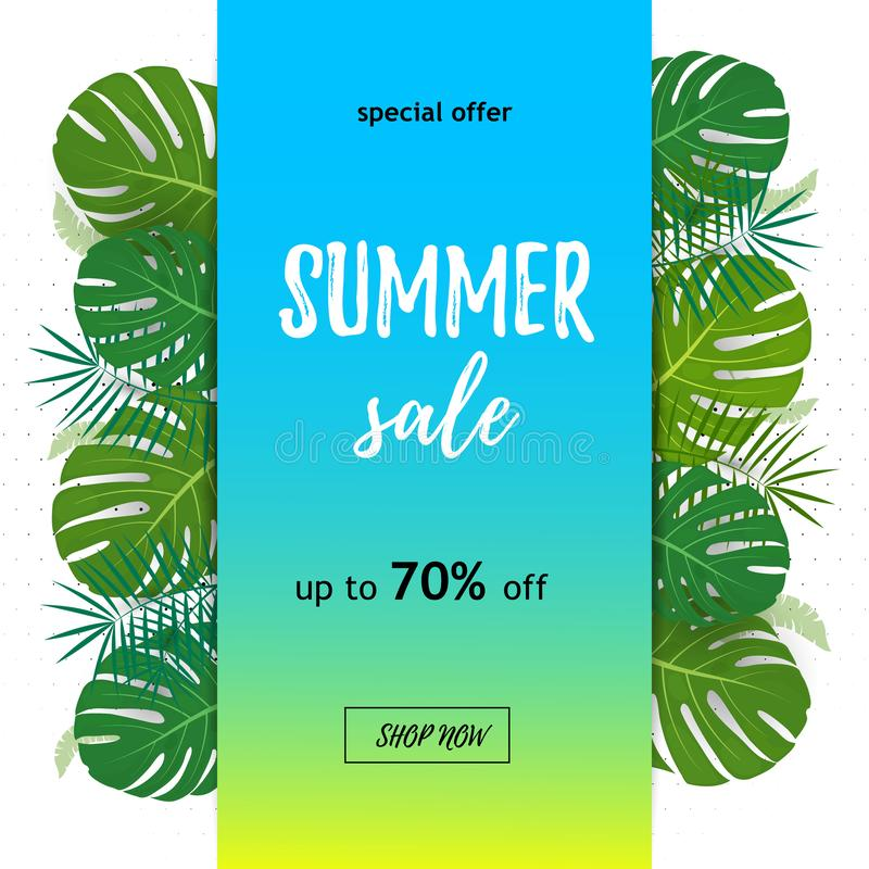 Tropical Sale.Discount design background . Poster with palm leaves, jungle leaf and handwriting lettering. Summer sale. Up to 70. Off. Sale banner on a blue royalty free illustration