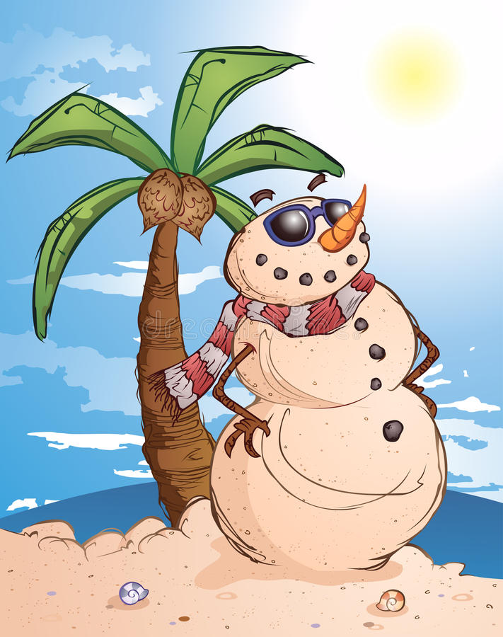 Tropical Sand Snow Man. A snowman made of sand? A sandman? You decide. Regardless, this sandy snowman knows where the good weather is