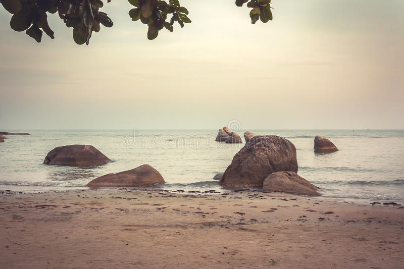 Tropical sandy beach at sunset with big rocks in water and hanging leaves during surf in warm colors in vintage style. Tropical beach at sunset with big rocks in royalty free stock photography