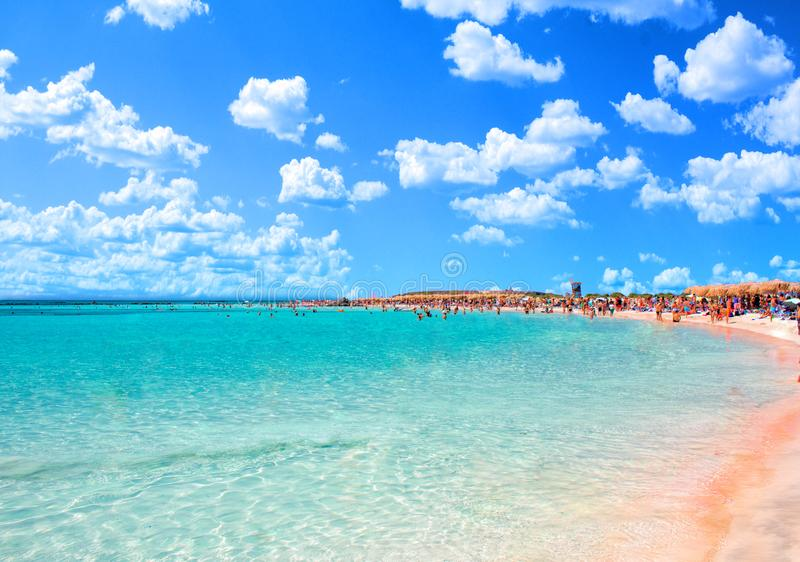 Tropical sandy beach with turquoise water, in Elafonisi, Crete, Greece. Elafonissi beach with pink sand. Copy space royalty free stock photos