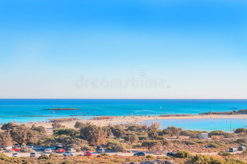 Tropical sandy beach with turquoise water, in Elafonisi, Crete, Greece. Elafonissi beach with pink sand. Copy space stock photos