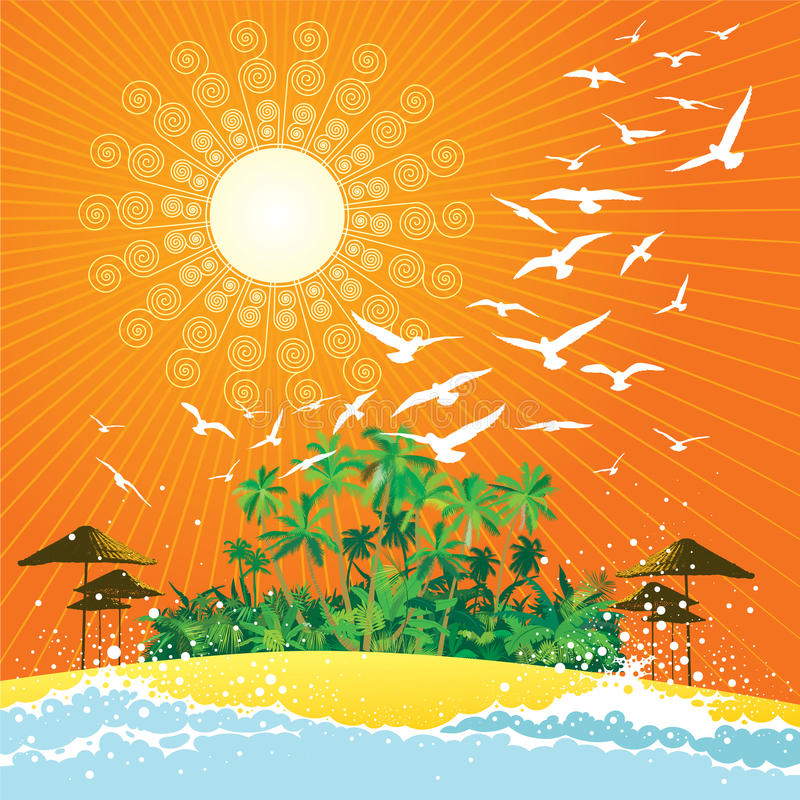 Download Tropical scene stock vector. Image of orange, palm, swirl - 15296204