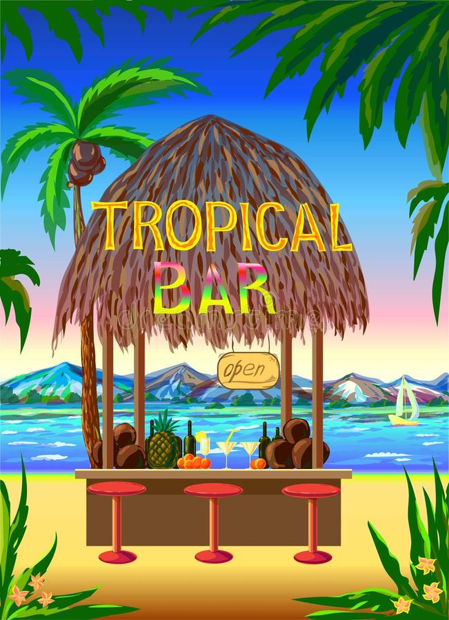 Tropical scenic beach bar background. Can be used for layout, cover page, web design, brochure template. color vector illustration royalty free illustration