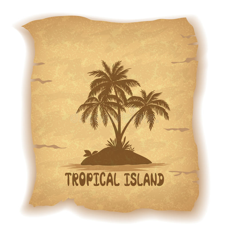 Tropical Sea Landscape with Palm Trees vector illustration