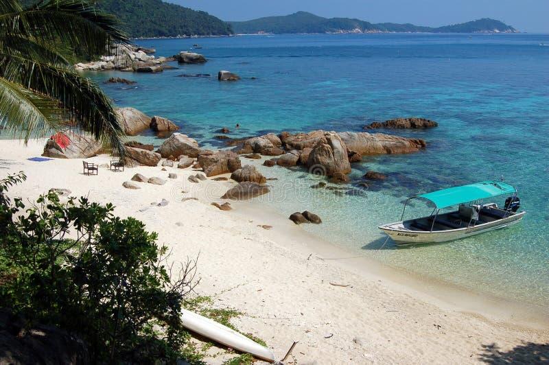 Tropical sea - Malaysia. Boat on the blue sea - Perhentian, Malaysia stock photo