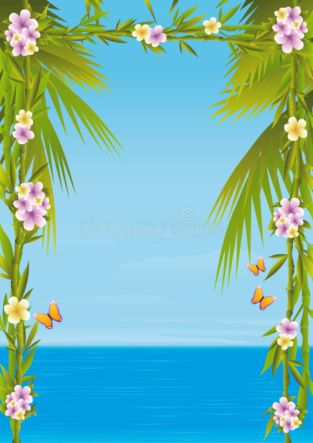 Tropical sea. A ocean framed by a few stalks of bamboo, plumerias, butterflies and palm trees. A exotic vacations scene with sea views and a clear summer sky stock illustration