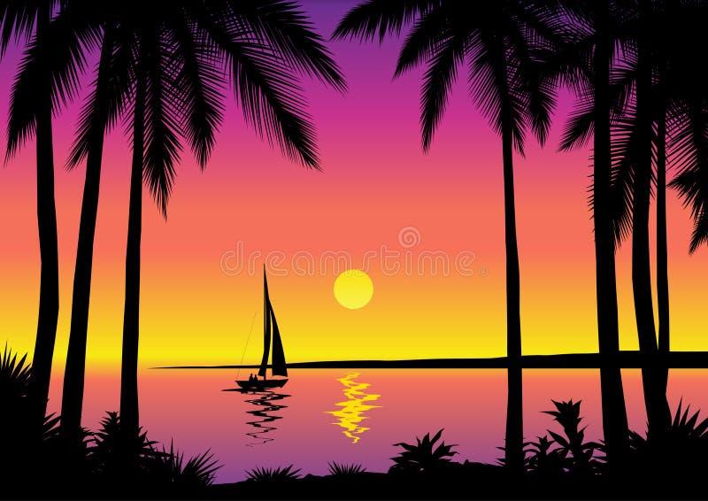 Tropical sea scene vector illustration