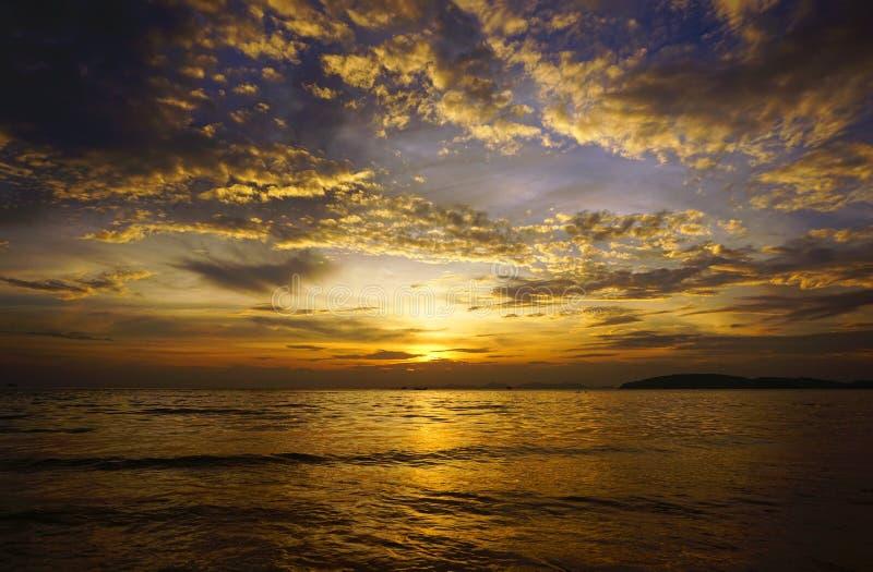 Tropical sea sunset on the beach stock photo