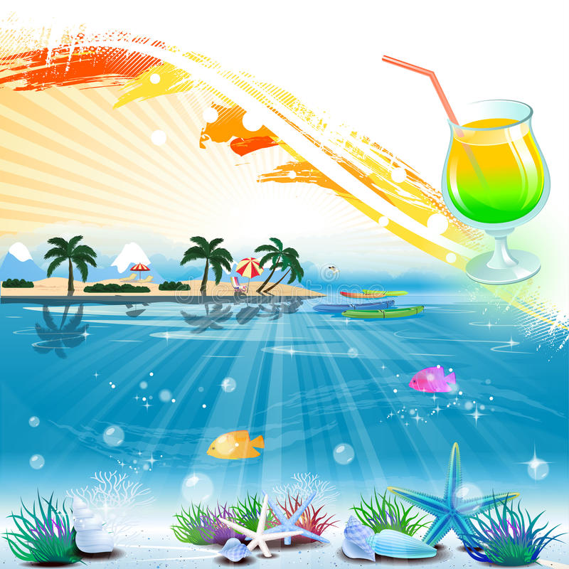 Tropical sea theme background with cocktail and text area royalty free illustration