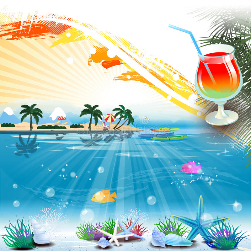 Tropical sea theme background with cocktail and text area vector illustration