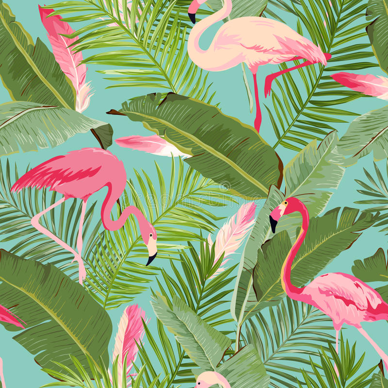 Tropical Seamless Flamingo and Floral Summer Pattern. For Wallpapers, Backgrounds, Textures, Textile, Cards. vector illustration