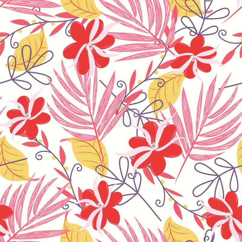 Tropical seamless pattern with bright leaves and flowers on white background. Vector design. Jungle print. Printing and textiles. royalty free illustration