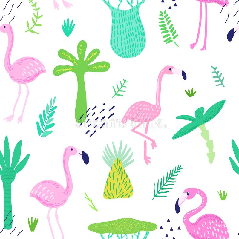Tropical Seamless Pattern with Cute Flamingo and Palm Leaves. Childish Summer Background for Wallpaper, Fabric. Wrapping Paper, Decoration. Vector illustration royalty free illustration
