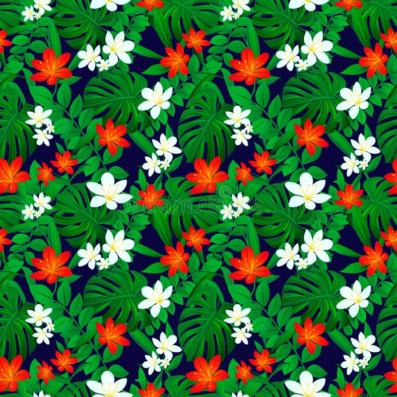 Tropical seamless pattern. Exotic leaves repeated texture. Vector card. Summer tropic background. Colored floral royalty free illustration