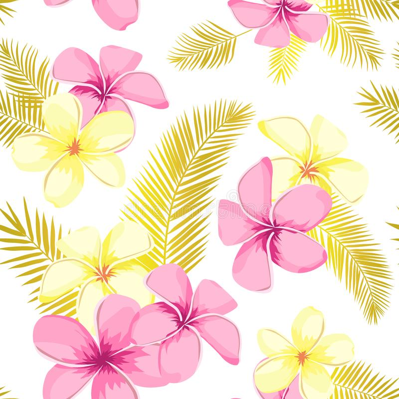 Tropical seamless pattern with exotic palm leaves and tropical flower. Tropical monstera. Hawaiian style. Vector illustration.  stock illustration