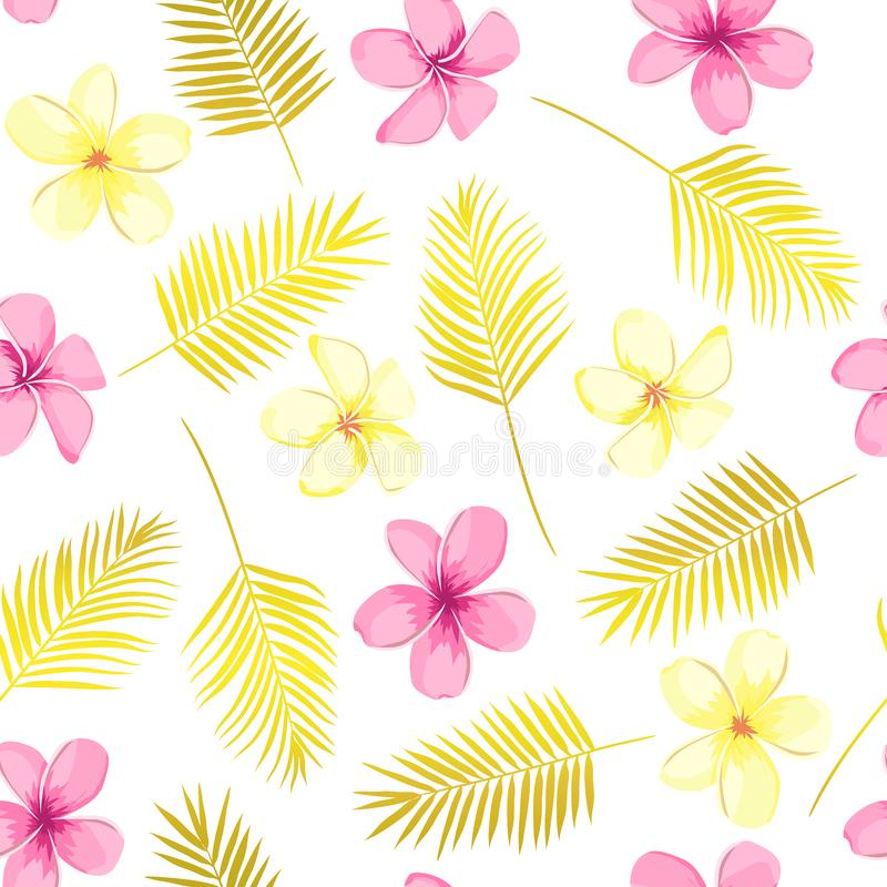 Tropical seamless pattern with exotic palm leaves and tropical flower. Tropical monstera. Hawaiian style. Vector illustration royalty free illustration