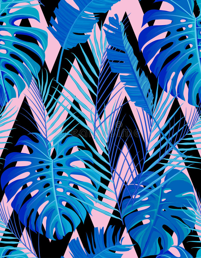 Tropical seamless pattern with exotic palm leaves. royalty free illustration