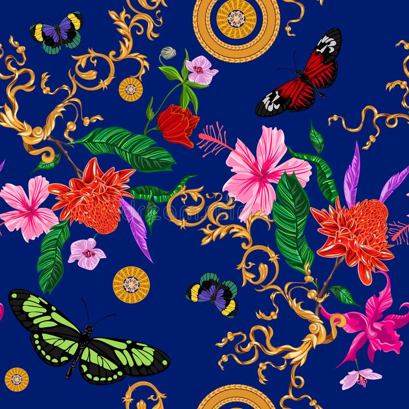 Tropical seamless pattern with flowers, butterflies, baroque chains. Vector floral patch for print, fabric, scarf vector illustration