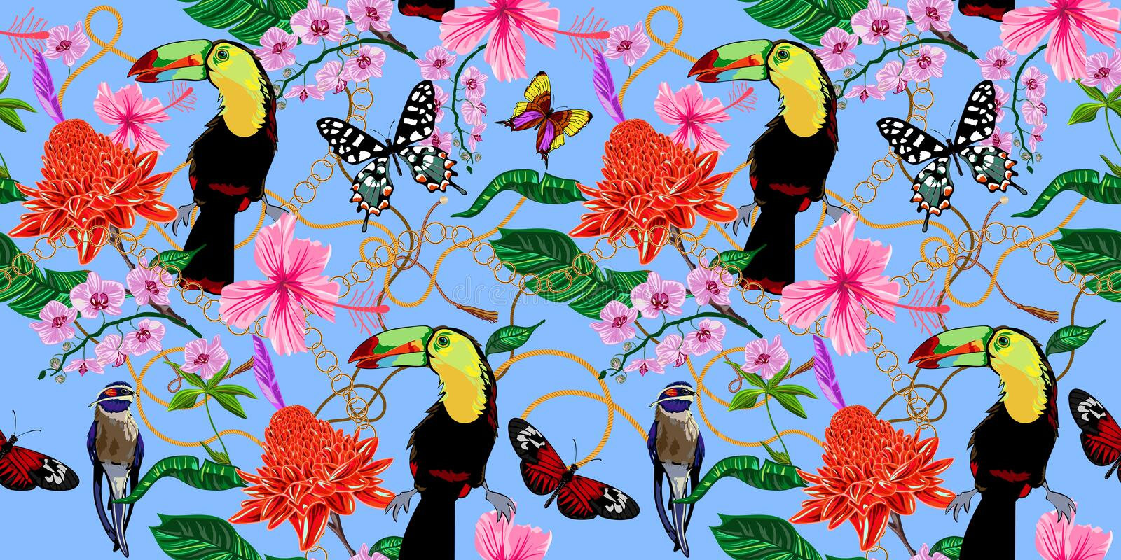 Tropical seamless pattern with flowers, butterflies, birds and baroque chains. Vector floral patch for print, fabric, scarf royalty free illustration