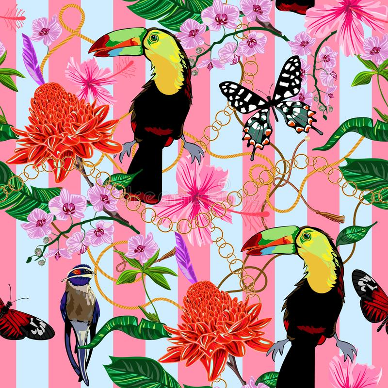 Tropical seamless pattern with flowers, butterflies, birds and baroque chains. Vector floral patch for print, fabric, scarf stock illustration