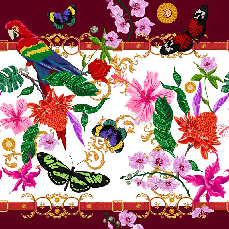 Tropical seamless pattern with flowers, butterflies, parrot and baroque belts. Vector floral patch for print, fabric, scarf royalty free illustration