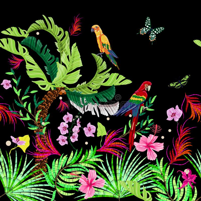 Tropical seamless pattern with flowers, butterflies and parrots. Vector jangle foliage for print, fabric, scarf royalty free illustration