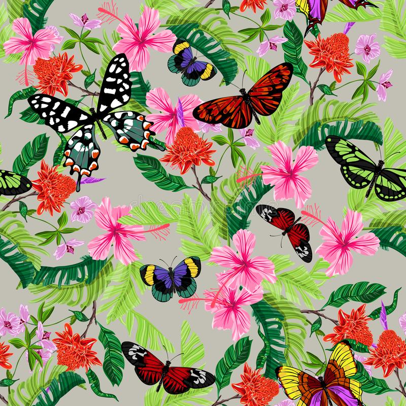 Tropical seamless pattern with flowers, butterflies. Vector floral patch for print, fabric, scarf royalty free illustration