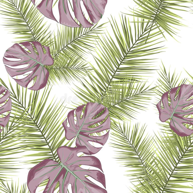 Tropical seamless pattern with leaves and branches isolated on white background. royalty free illustration