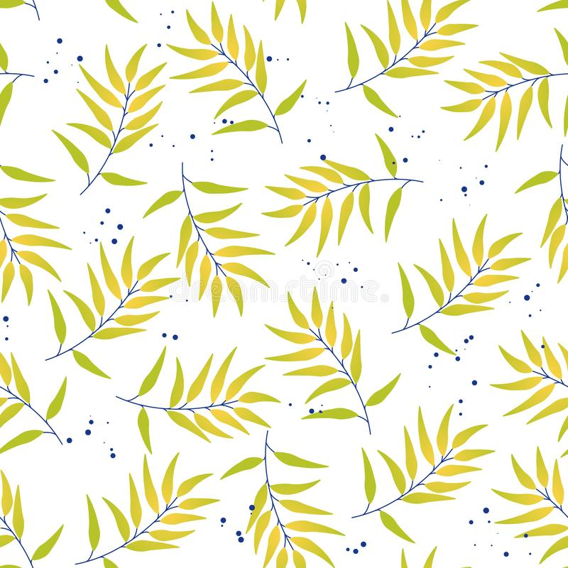 Tropical seamless pattern leaves stock illustration
